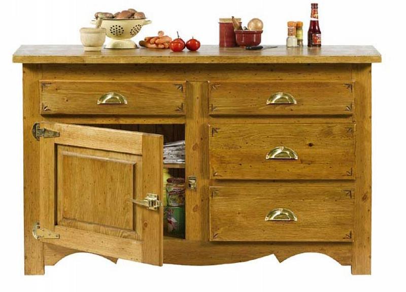 Meuble bas en pin massif teint et cir avec 2 portes et 2 for Meuble bas cuisine pin