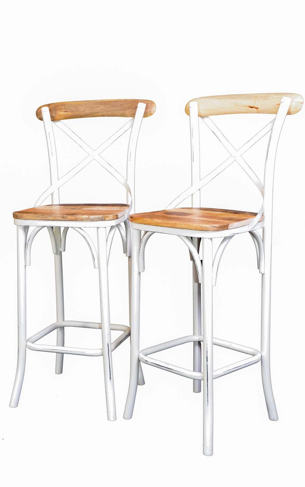 Chaise Fer Forgé Et Bois lot de 2 chaises de bar loft métal blanc et bois naturel