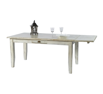 "Allonge 50cm pin massif cérusé blanc ""Solea"" Casita pour la table de 160 cm"