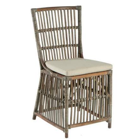 "Chaise rotin blanc-gris ""Rotin"""