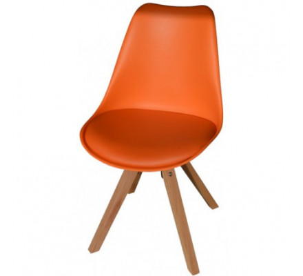 "Lot 2 chaises scandinaves orange ""Benny"""