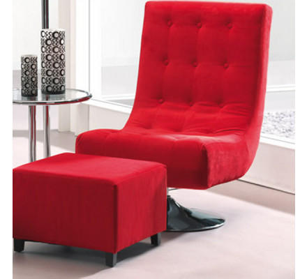 Fauteuil Hollywood velours rouge