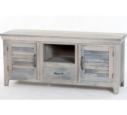"Meuble TV blanchi style persienne "" Valencia"""