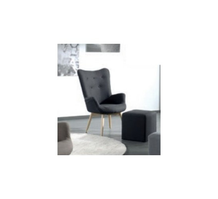 "Fauteuil tissu Anthracite pieds compas ""Sharon"""
