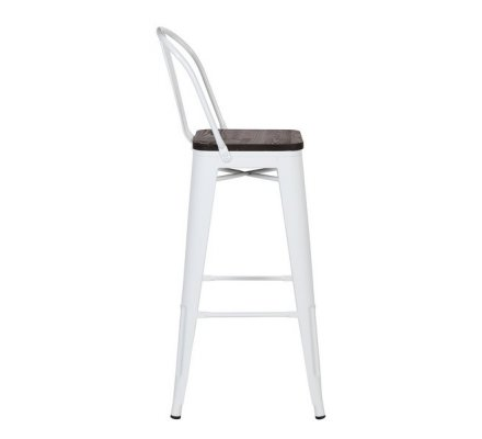 "Chaise bar industriel métal blanc assise bois ""Osaca"""