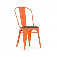 """Chaise bistrot métal orange et bois industrielle """"Industry"""""""