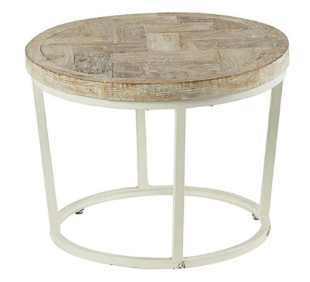 "Table basse ronde blanchie bois ""Amki"""