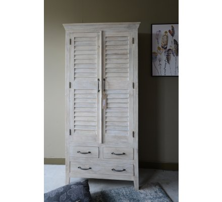 "Armoire 2 portes blanchie style persienne "" Valencia"""