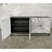 """Buffet 4 portes contemporain métal noir et bois blanchi """"Bristlecone"""""""