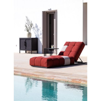 "Grand transat rouge et gris tissu Sunbrella ""Lazy Beach"""