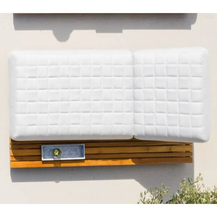 "Transat ultra confort tissu Sunbrella blanc cassé et teck ""Lombok"""