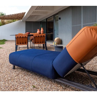 "Transat bleu et camel extra confort tissus Sunbrella ""Madura Island"""