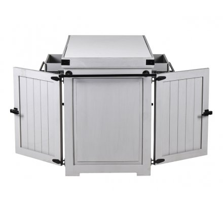 "Grand billot de cuisine style chic gris et quartz blanc ""Grand chef"""