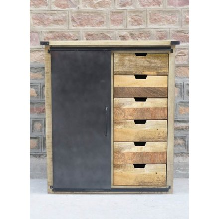 "Buffet indus vertical métal et bois 6 tiroirs 3 casiers ""Caractère"""
