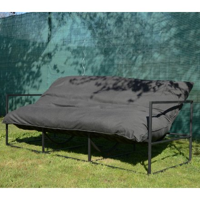 "Canapé cosy outdoor en tissu Sunbrella gris et alu noir ""Maluku Island"""