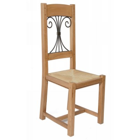 "Chaise chêne massif fer forgé ""Batista"""