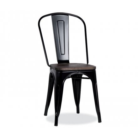 """Lot de 4 chaises industrielles métal noir et bois """"Industry"""""""