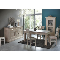 "Table rectangulaire + 2 allonges chêne massif ""Stockholm blanchi"" 180cm"