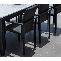 """Chaise extérieure noire avec tissu Sunbrella """"Terrasse"""""""