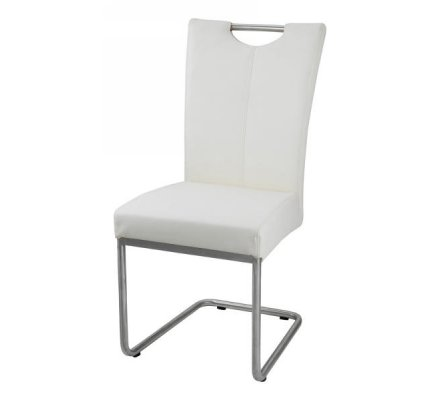 "Chaise inox blanche ""Flora"""