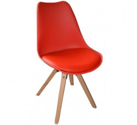 """Lot 2 chaises scandinaves rouges """"Benny"""""""