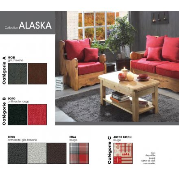 "Grand salon d'angle style montagnard en pin et tissu au choix ""Alaska"""
