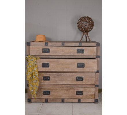 Commode malle style voyage 4 tiroirs
