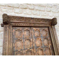 """Porte indienne traditionnelle en bois et métal """"Vieille porte"""""""