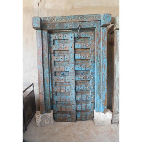 """Vieille porte de maison Indienne bleue """"Vieille porte"""""""