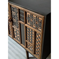 """Buffet vintage avec portes déco tressage bois noir """"Pop Vintage"""""""