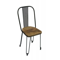 """Chaise industrielle métal et bois """"Atelier"""""""