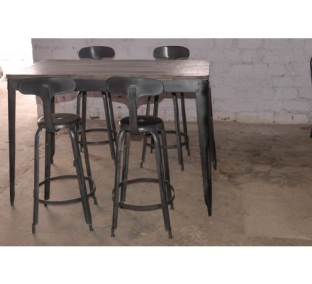 "Table haute snack bar loft 120x70cm ""Snack Indus"""