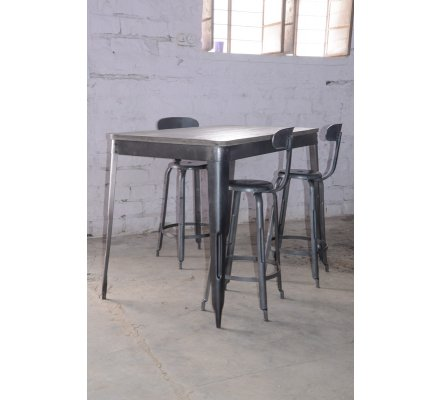 "Table haute snack bar loft 100x100cm  ""Snack Indus"""