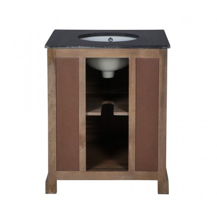 """Meuble de salle de bain 76cm une vasque poignées crémones et marbre """"Persienne"""""""