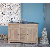 """Meuble de salle de bain pierre double vasque intégrée """"Élégance"""""""