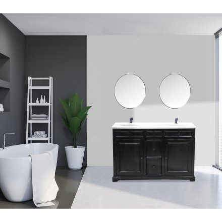 """Meuble de salle de bain noir dessus quartz blanc """" Elégance'"""
