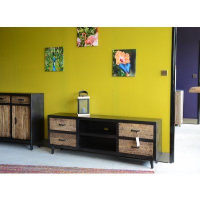 "Meuble TV noir et bois brut recyclé 4 tiroirs ""Jazz"""