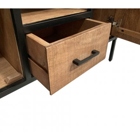 """Meuble télé style industriel en bois exotique et métal 130 cm """"Tom"""""""