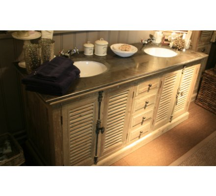 "Meuble double vasque pin ""Provence"""