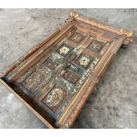 """Porte indienne ornementale bleue et dorée en bois """"Vieille porte"""""""