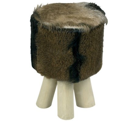 "Pouf rond marron ""Farmer"""