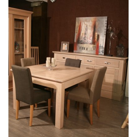 "Table carrée + allonge chêne massif ""Stockholm"" 125cm"