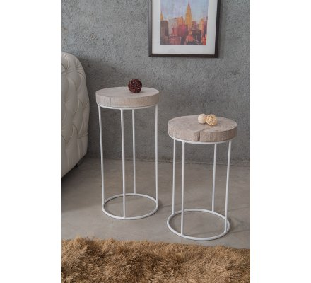Lot de 2 Tables d'appoint rondes blanchies
