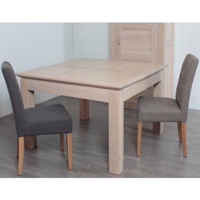 "Table carrée + allonge chêne massif ""Stockholm"" 140cm"