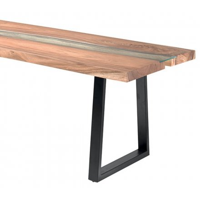 """Table de repas métal verre et bois style contemporain 190 cm """"Zenia"""""""