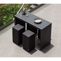 """Table haute pour le jardin en aluminium noir 200 cm """"Java Island"""""""