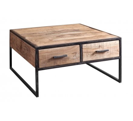 Table Basse Carree Bois Massif Et Metal Urban Metal