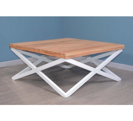 Table Basse Metal Blanc.Table Basse Carre Pieds Metal Blanc 88 X 88 Cm Zen White