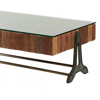 """Vitre pour table basse rectangulaire teck """"Amki"""""""