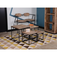 """Table basse 4 plateaux métal noir et bois massif """"BENDIGO"""""""